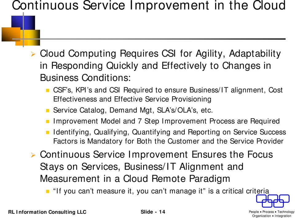 Improvement Model and 7 Step Improvement Process are Required Identifying, Qualifying, Quantifying and Reporting on Service Success Factors is Mandatory for Both the Customer and the Service