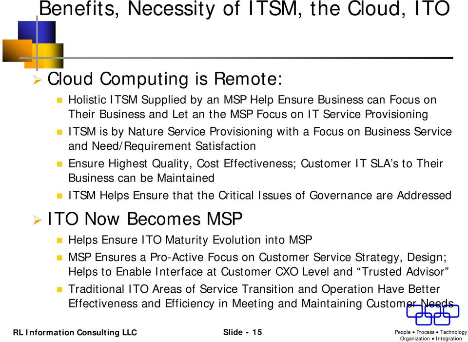can be Maintained ITSM Helps Ensure that the Critical Issues of Governance are Addressed ITO Now Becomes MSP Helps Ensure ITO Maturity Evolution into MSP MSP Ensures a Pro-Active Focus on Customer