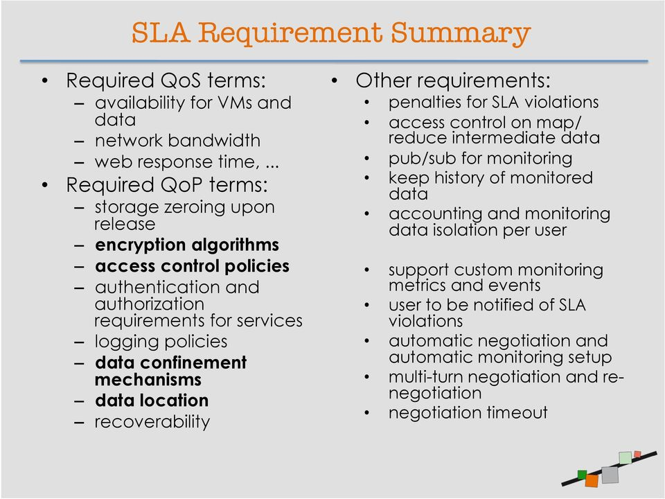 confinement mechanisms data location recoverability Other requirements: penalties for SLA violations access control on map/ reduce intermediate data pub/sub for monitoring keep history