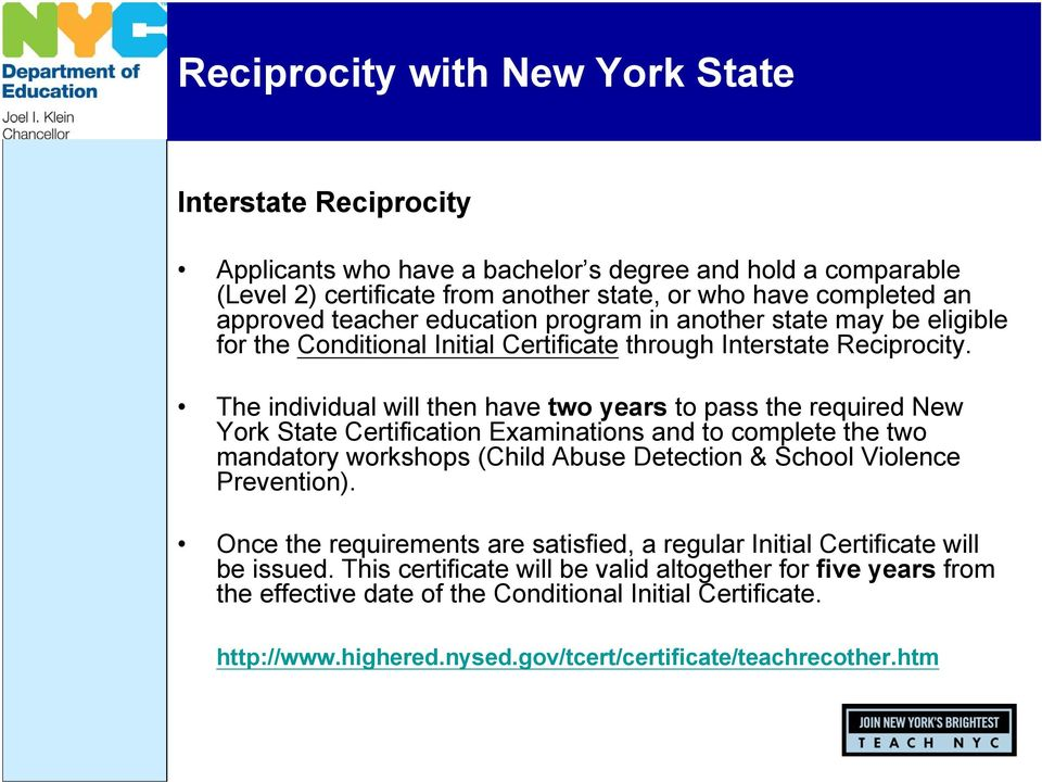 The individual will then have two years to pass the required New York State Certification Examinations and to complete the two mandatory workshops (Child Abuse Detection & School Violence