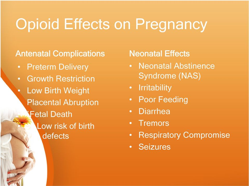 Low risk of birth defects Neonatal Effects Neonatal Abstinence Syndrome