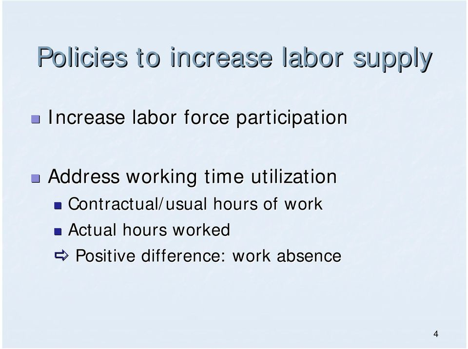 utilization Contractual/usual hours of work