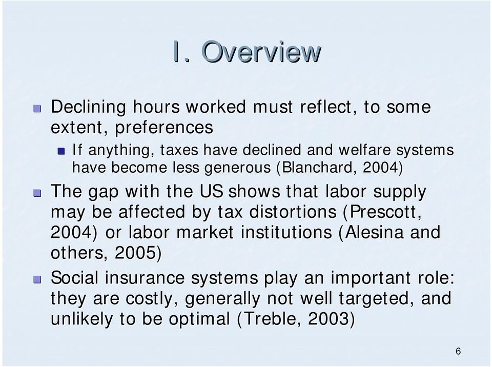 affected by tax distortions (Prescott, ) or labor market institutions (Alesina and others, ) Social insurance