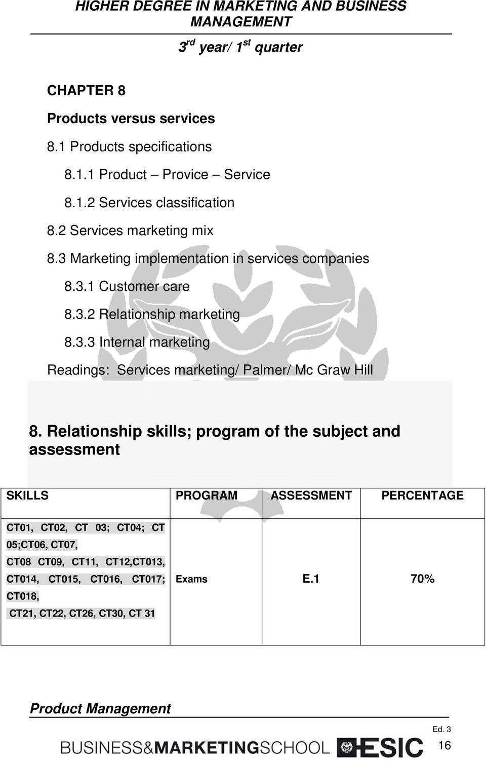 Relationship skills; program of the subject and assessment SKILLS PROGRAM ASSESSMENT PERCENTAGE CT01, CT02, CT 03; CT04; CT 05;CT06, CT07, CT08
