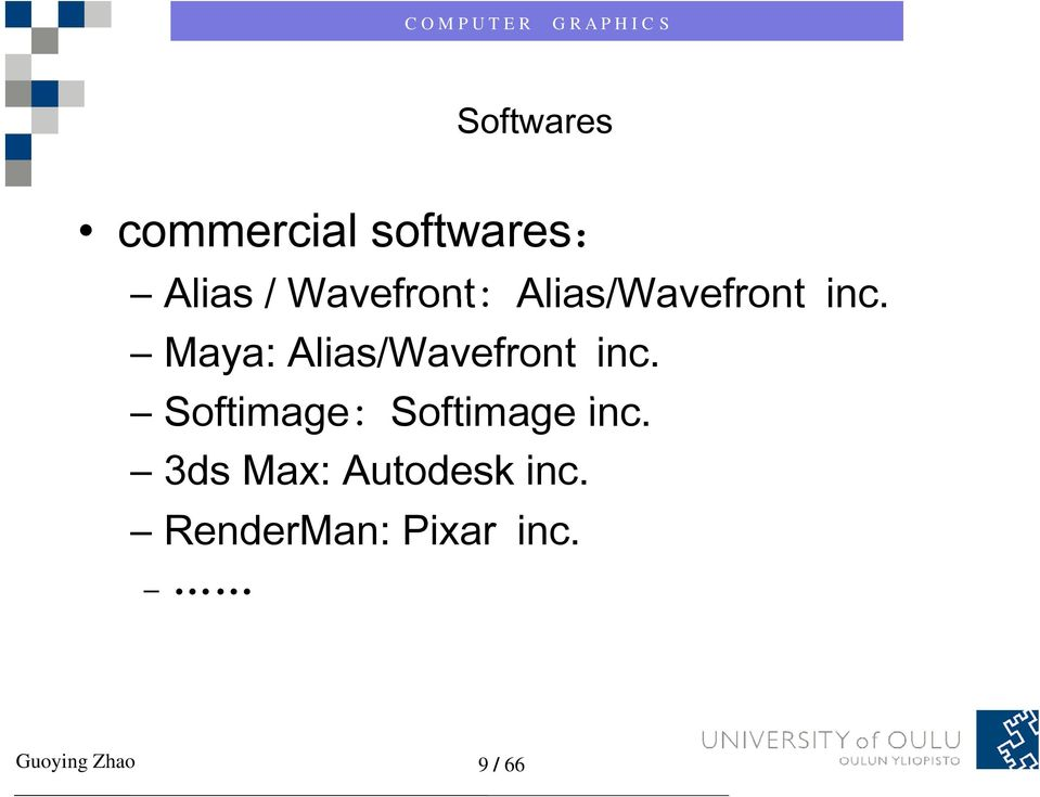 Maya: Alias/Wavefront inc.