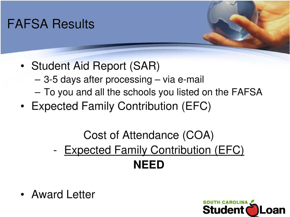on the FAFSA Expected Family Contribution (EFC) Cost of