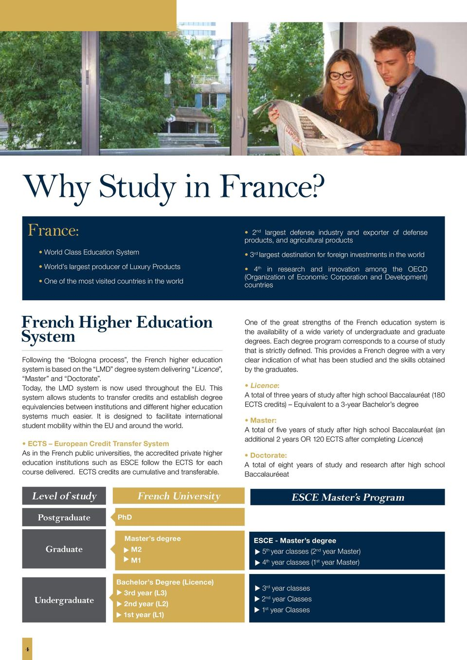 producs 3 rd larges desinaion for foreign invesmens in he world 4 h in research and innovaion among he OECD (Organizaion of Economic Corporaion and Developmen) counries French Higher Educaion Sysem