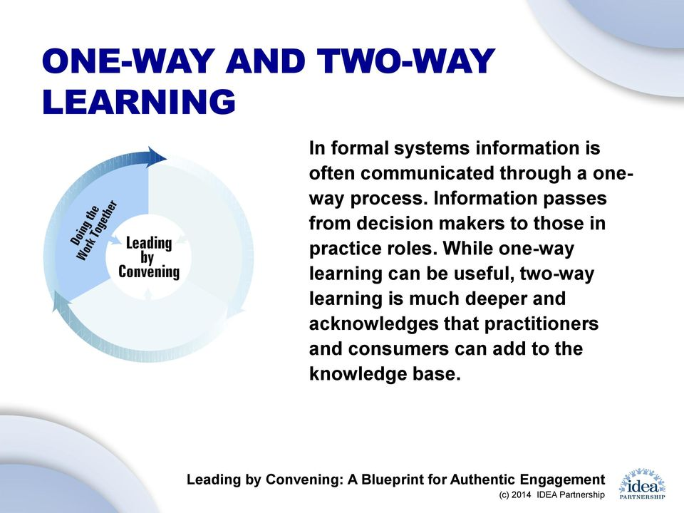Information passes from decision makers to those in practice roles.