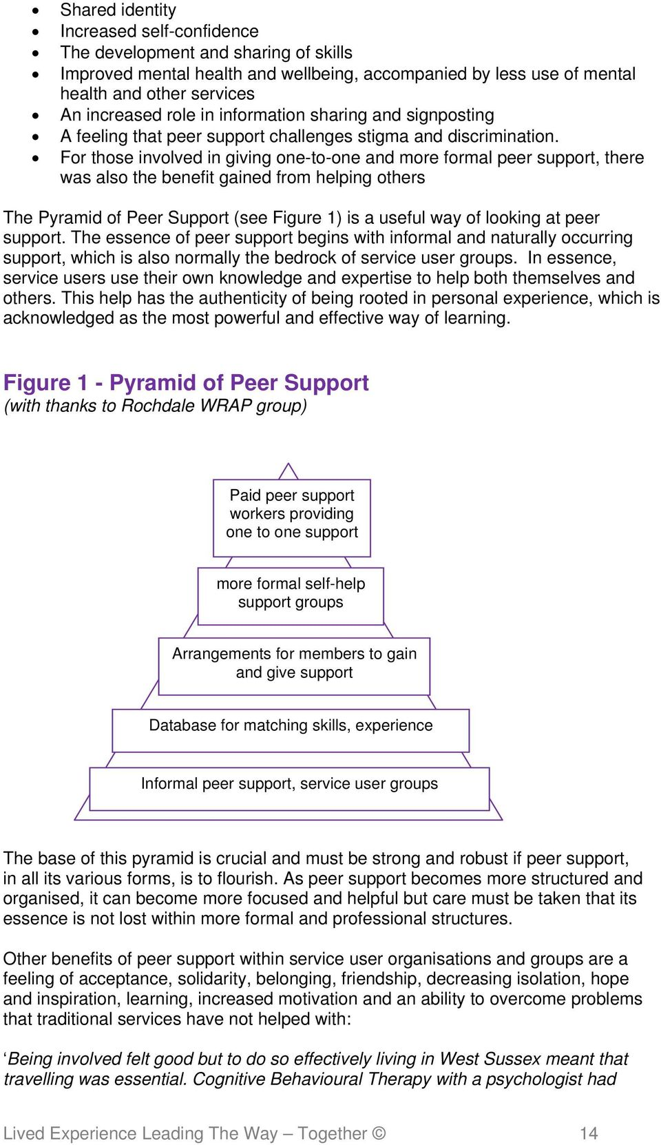 For those involved in giving one-to-one and more formal peer support, there was also the benefit gained from helping others The Pyramid of Peer Support (see Figure 1) is a useful way of looking at
