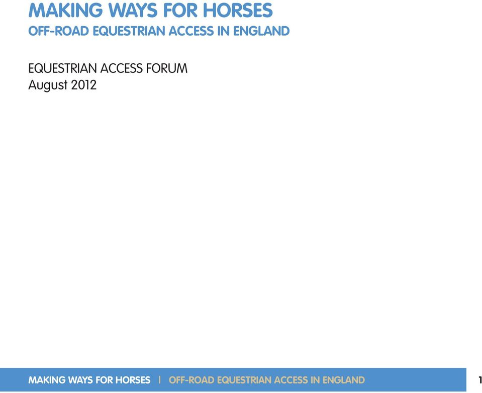 ACCESS FORUM August 2012  EQUESTRIAN