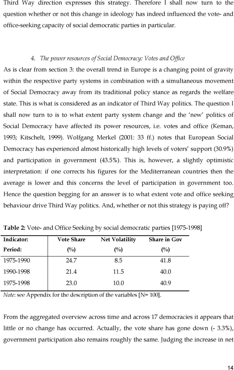 The power resources of Social Democracy: Votes and Office As is clear from section 3: the overall trend in Europe is a changing point of gravity within the respective party systems in combination