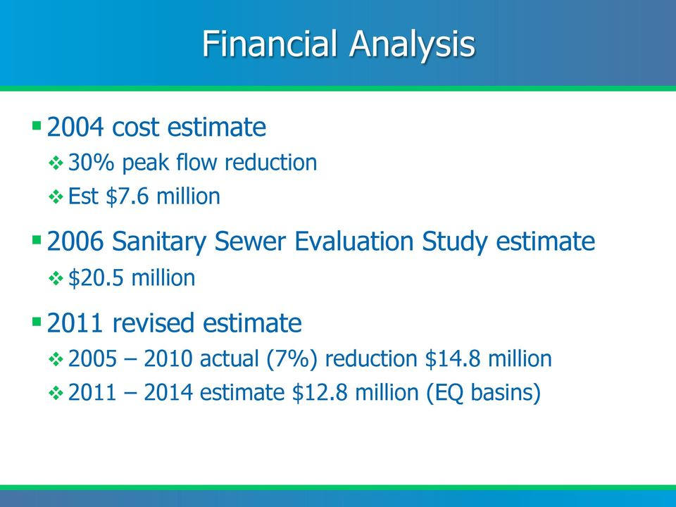 6 million 2006 Sanitary Sewer Evaluation Study estimate v $20.