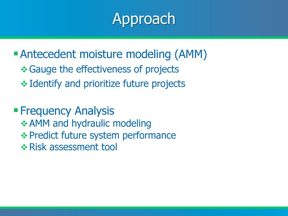 future projects Frequency Analysis v AMM and hydraulic
