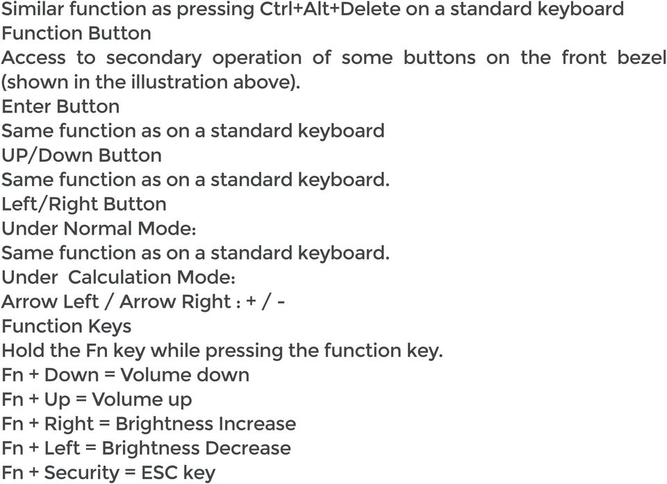 Left/Right Button Under Normal Mode Same function as on a standard keyboard.