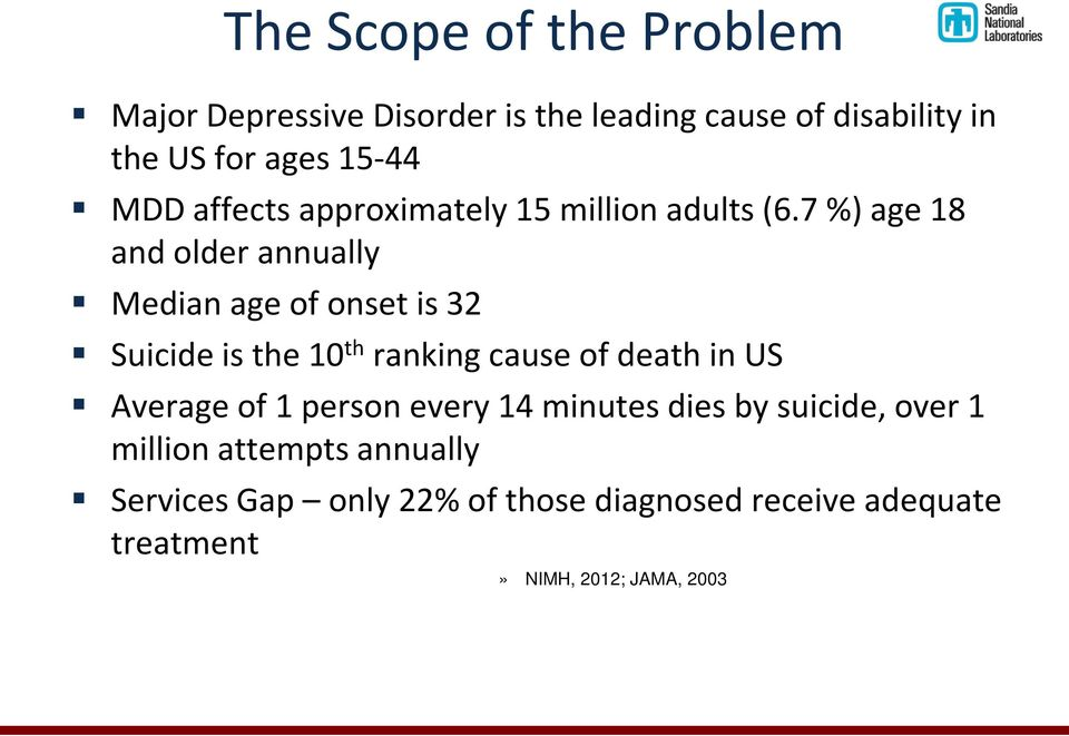 7 %) age 18 and older annually Median age of onset is 32 Suicide is the 10 th ranking cause of death in US