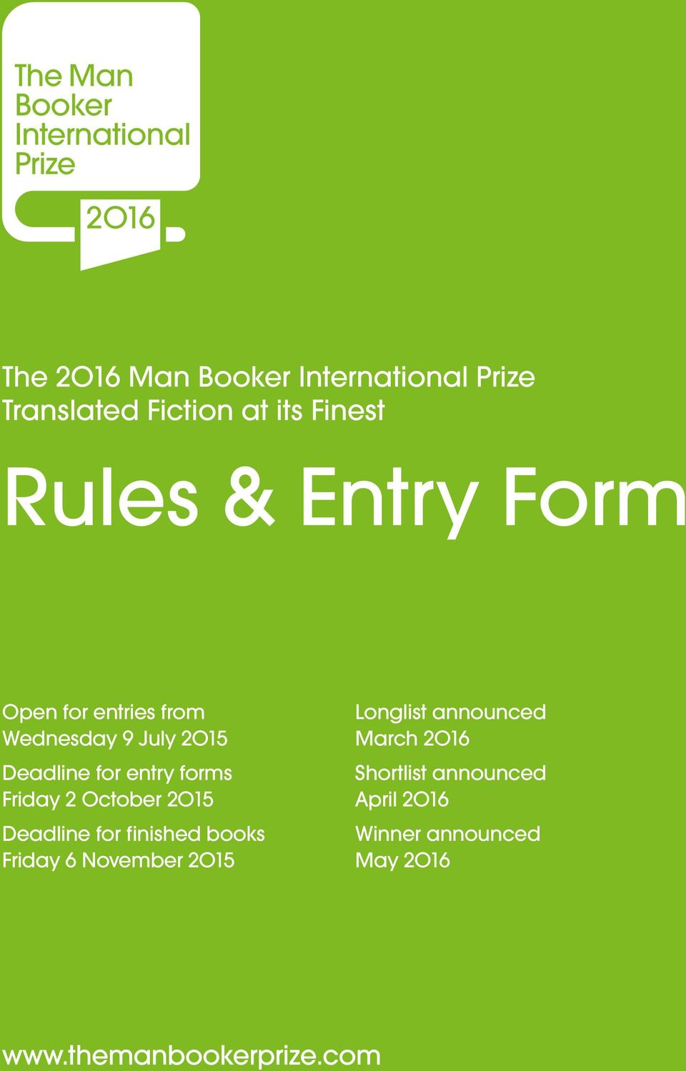 forms Friday 2 October 2O15 Deadline for finished books Friday 6 November 2O15