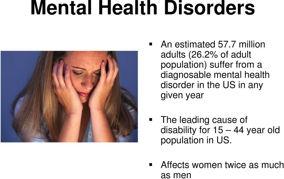 disorder in the US in any given year The leading cause of