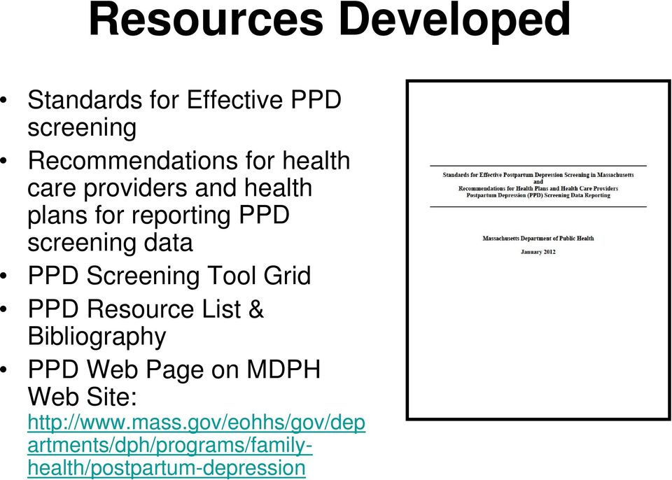 Screening Tool Grid PPD Resource List & Bibliography PPD Web Page on MDPH Web