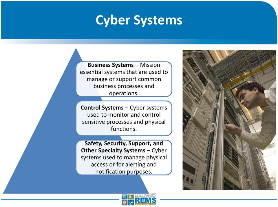 Control Systems Cyber systems used to monitor and control sensitive processes and physical
