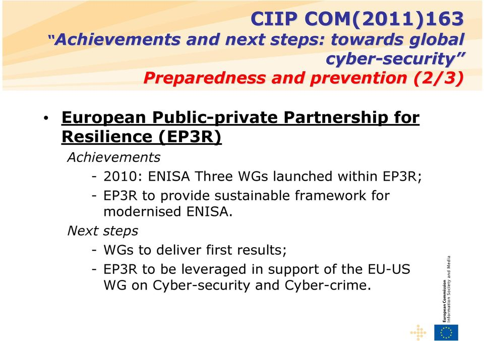 EP3R; - EP3R to provide sustainable framework for modernised ENISA.