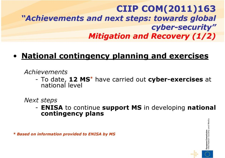 cyber-exercises at national level Next steps - ENISA to continue support MS