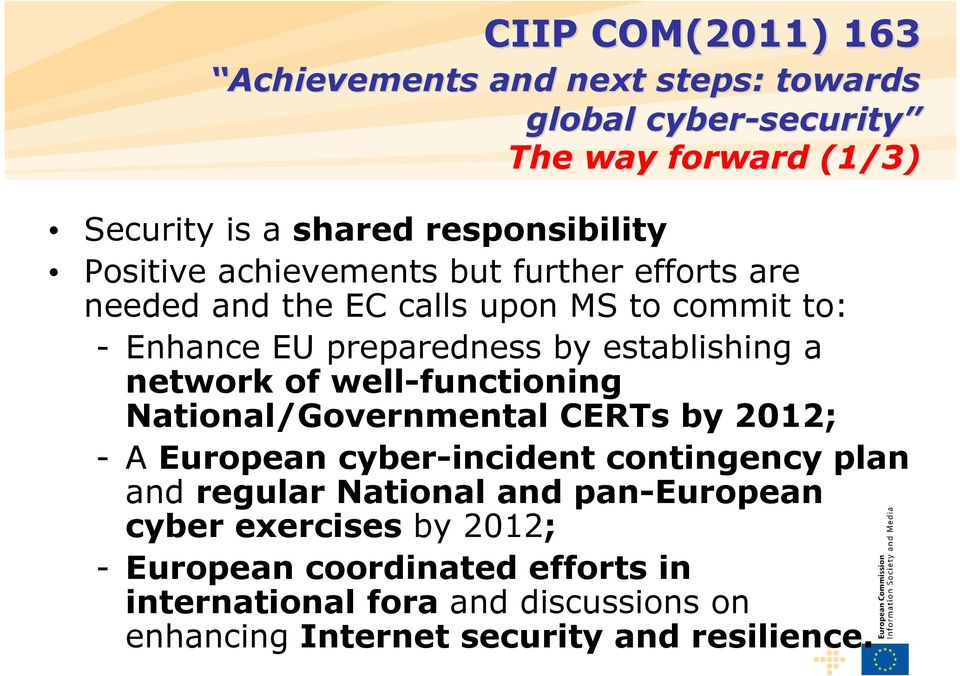 National/Governmental CERTs by 2012; -A European cyber-incident contingency plan and regular National and pan-european cyber