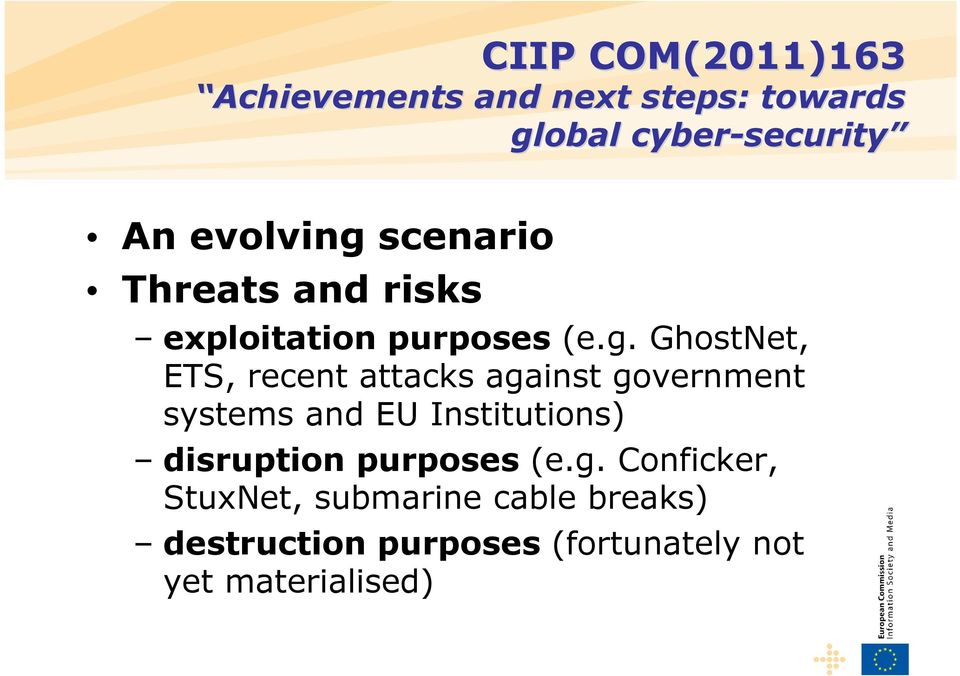 GhostNet, ETS, recent attacks against government systems and EU