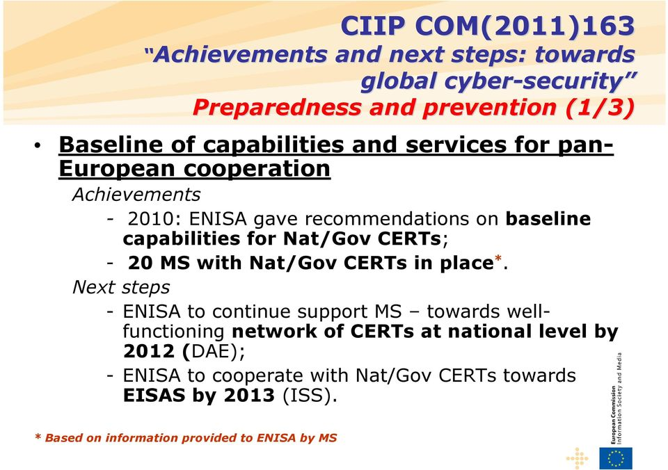 *. Next steps - ENISA to continue support MS towards wellfunctioning network of CERTs at national level by 2012