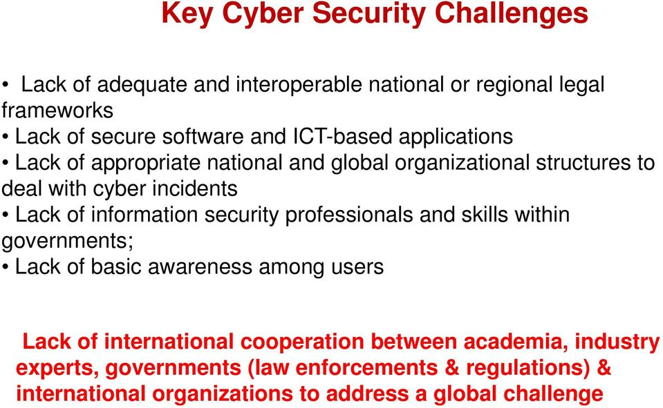 information security professionals and skills within governments; Lack of basic awareness among users Lack of international