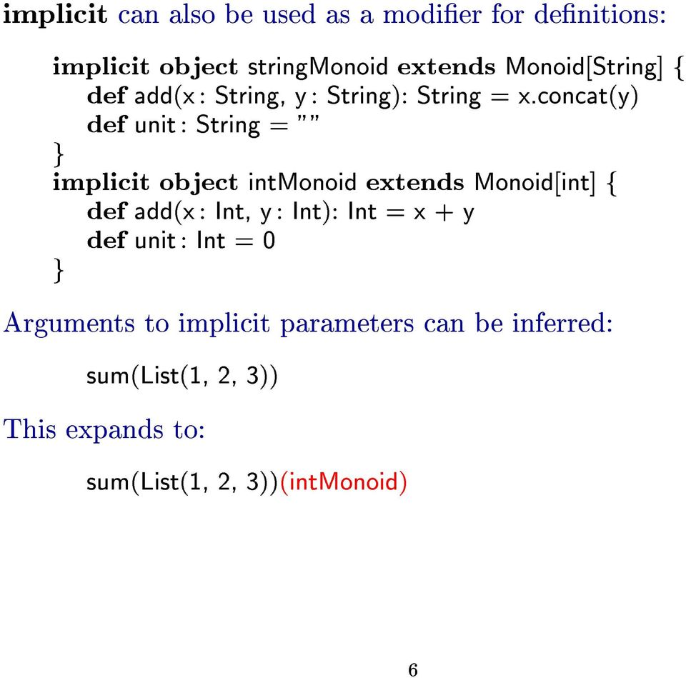 "concat(y) def unit: Strin = """" implicit object intmonoid extends Monoid[int] f def add(x: Int, y:"
