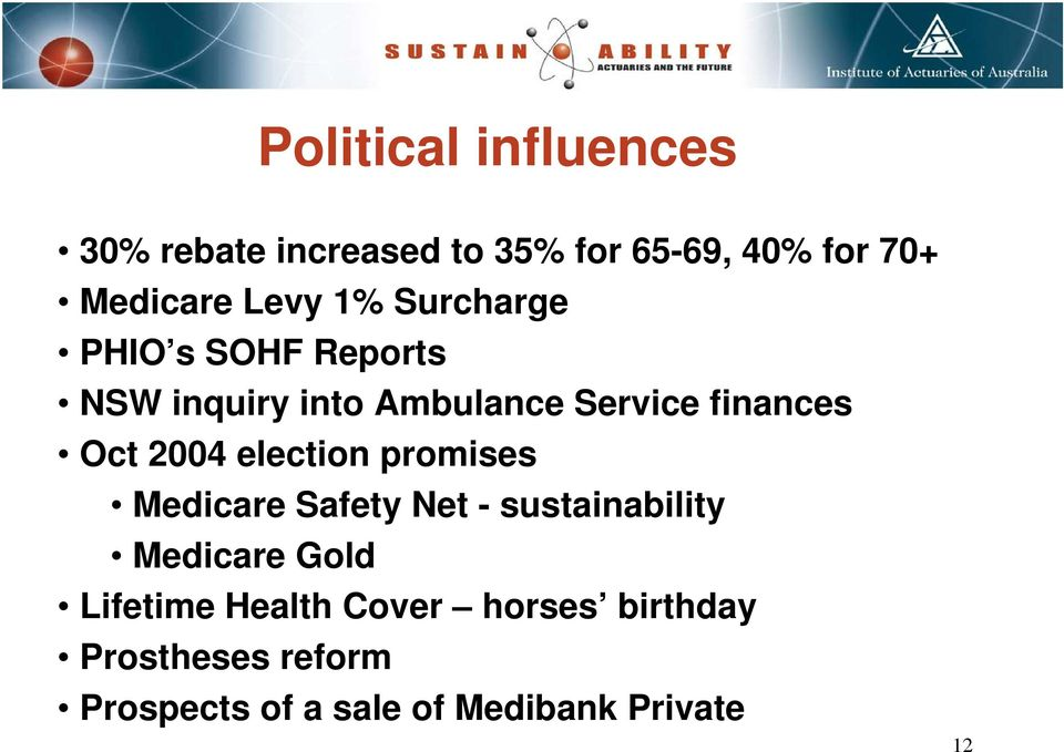 Oct 2004 election promises Medicare Safety Net - sustainability Medicare Gold
