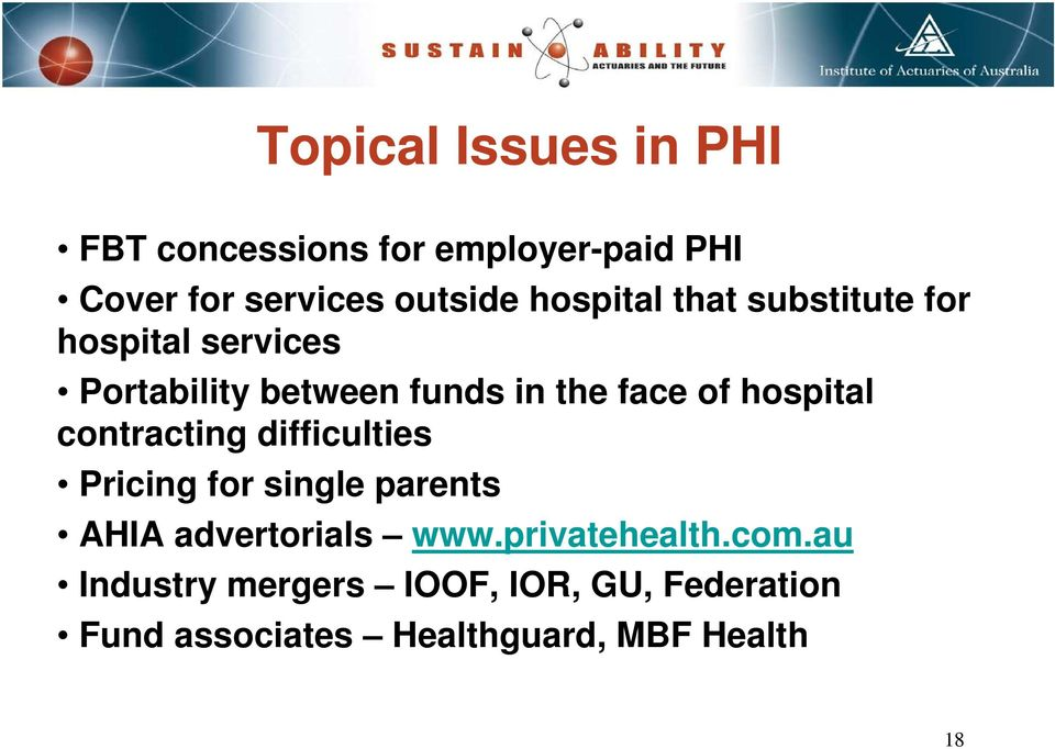 hospital contracting difficulties Pricing for single parents AHIA advertorials www.
