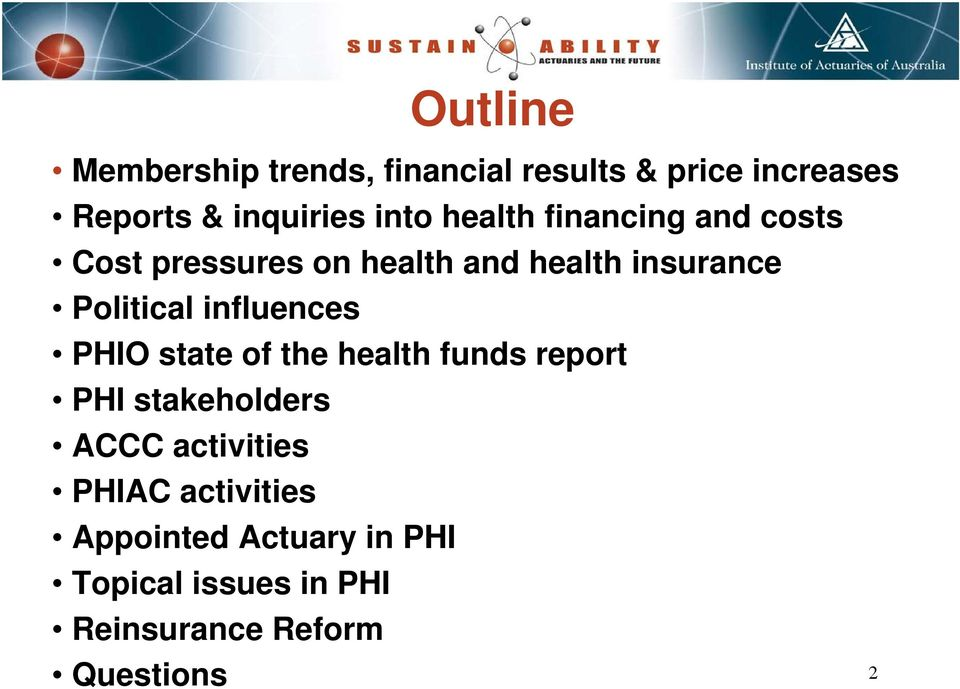PHIO state of the health funds report PHI stakeholders ACCC activities PHIAC