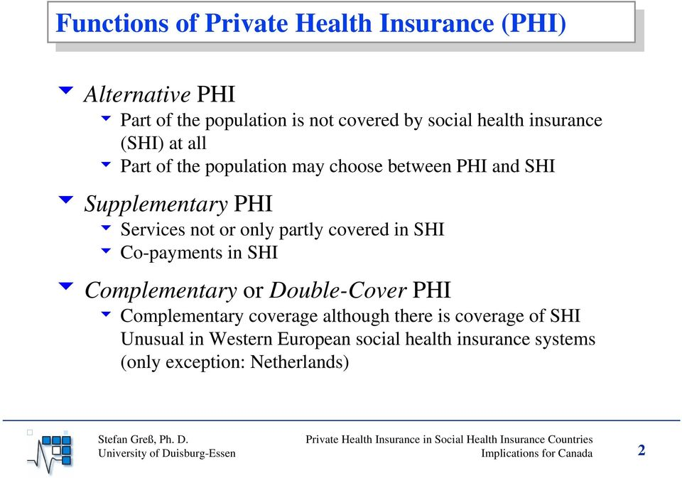 covered in SHI 6 Co-payments in SHI 6 Complementary or Double-Cover PHI 6 Complementary coverage although there is coverage of SHI