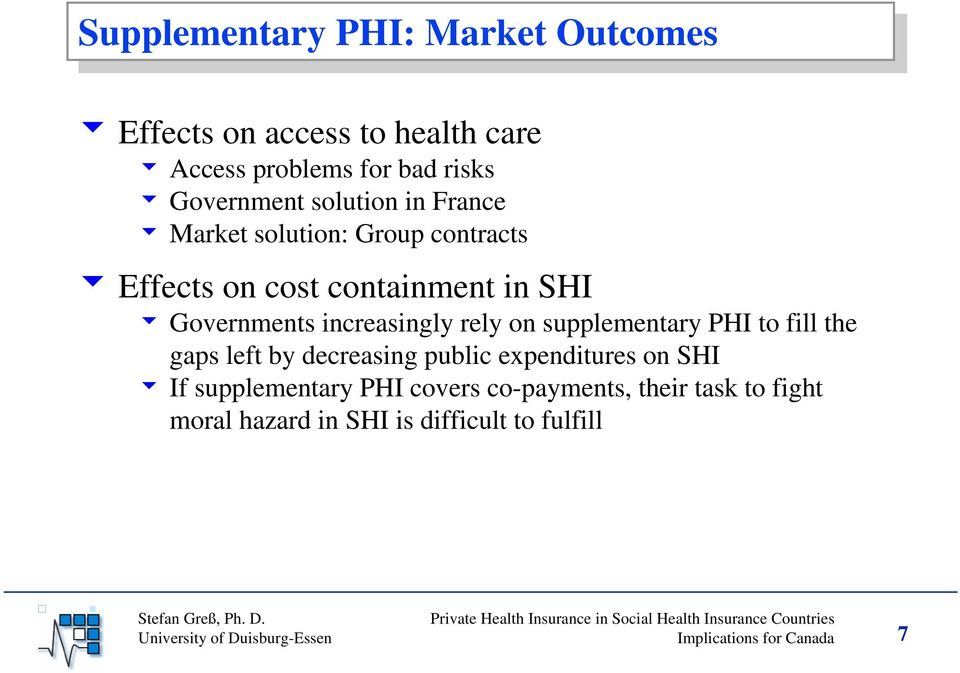 rely on supplementary PHI to fill the gaps left by decreasing public expenditures on SHI 6 If supplementary PHI covers