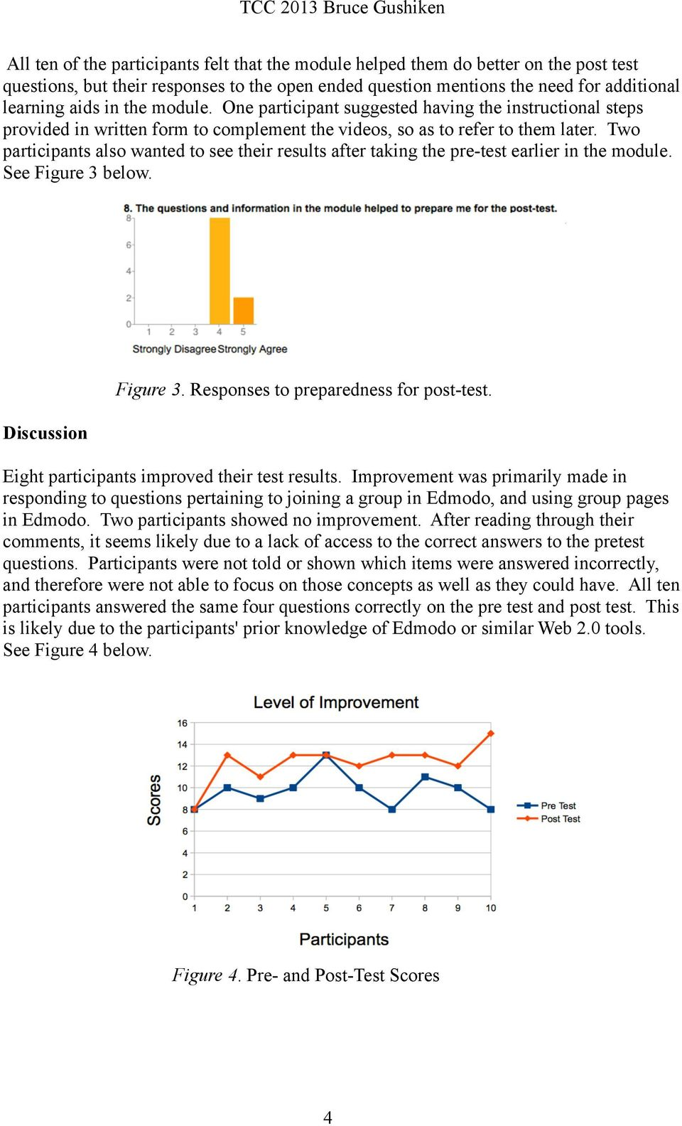 Two participants also wanted to see their results after taking the pre-test earlier in the module. See Figure 3 below. Discussion Figure 3. Responses to preparedness for post-test.