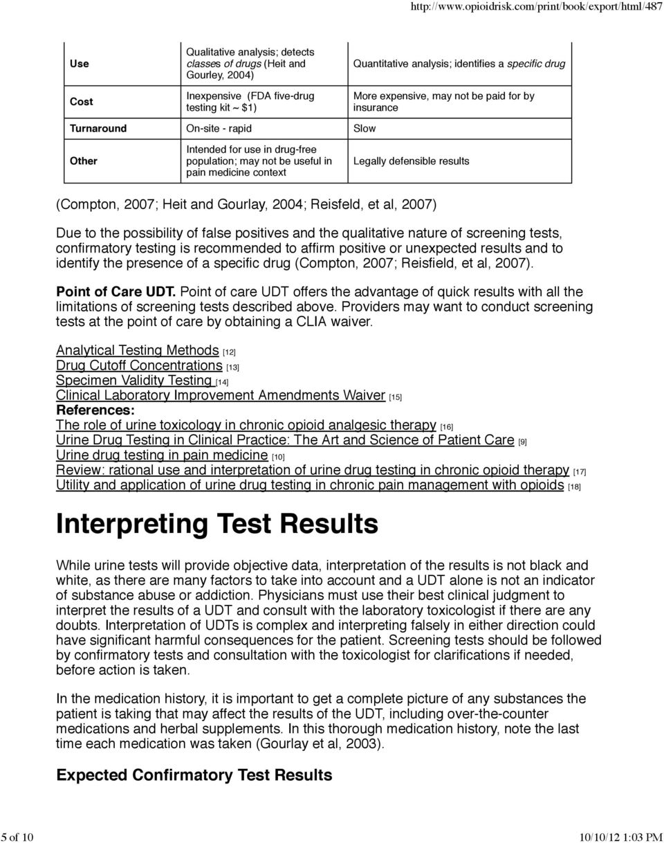 Gourlay, 2004; Reisfeld, et al, 2007) Due to the possibility of false positives and the qualitative nature of screening tests, confirmatory testing is recommended to affirm positive or unexpected