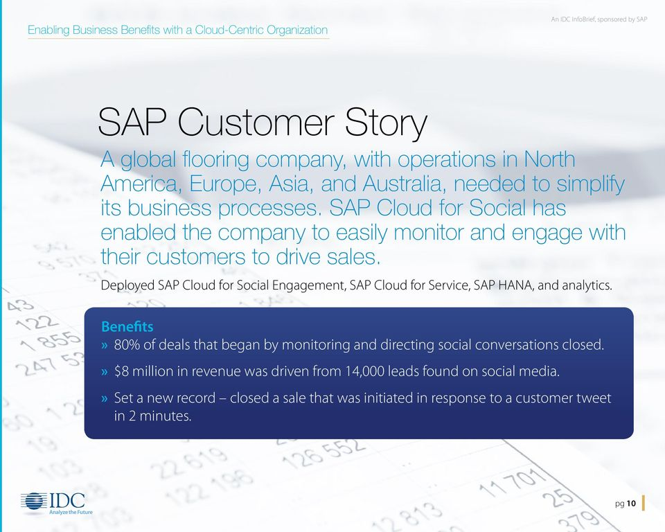 Deployed SAP Cloud for Social Engagement, SAP Cloud for Service, SAP HANA, and analytics.