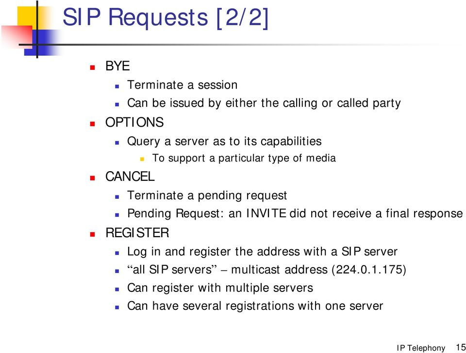 Request: an INVITE did not receive a final response REGISTER Log in and register the address with a SIP server all