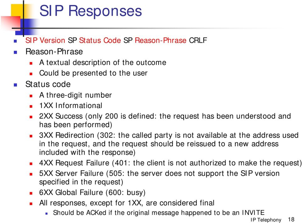 request, and the request should be reissued to a new address included with the response) 4XX Request Failure (401: the client is not authorized to make the request) 5XX Server Failure (505: the