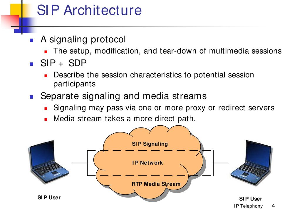 Separate signaling and media streams Signaling may pass via one or more proxy or redirect