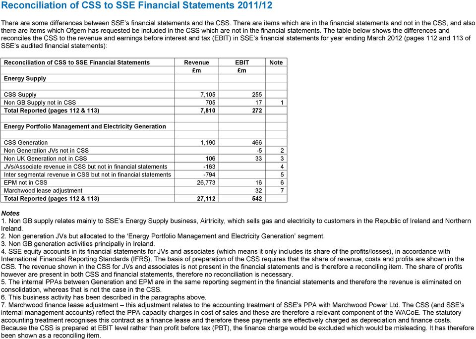 The table below shows the differences and reconciles the CSS to the revenue and earnings before interest and tax (EBIT) in SSE s financial statements for year ending March 2012 (pages 112 and 113 of