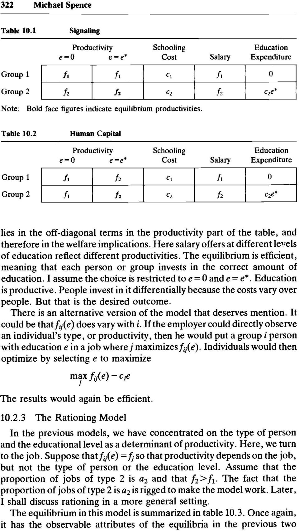 Group 1 Group 2 fl f2 C1 fi 0 fl f2 C2 f2 cze* lies in the off-diagonal terms in the productivity part of the table, and therefore in the welfare implications.