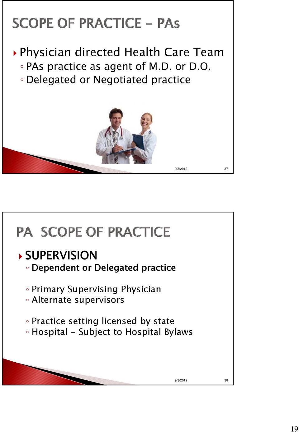 Delegated practice Primary Supervising Physician Alternate supervisors