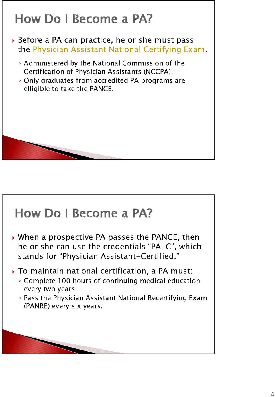 Only graduates from accredited PA programs are elligible to take the PANCE.