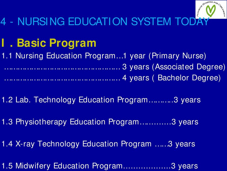 years ( Bachelor Degree) 1.2 Lab. Technology Education Program..3 years 1.
