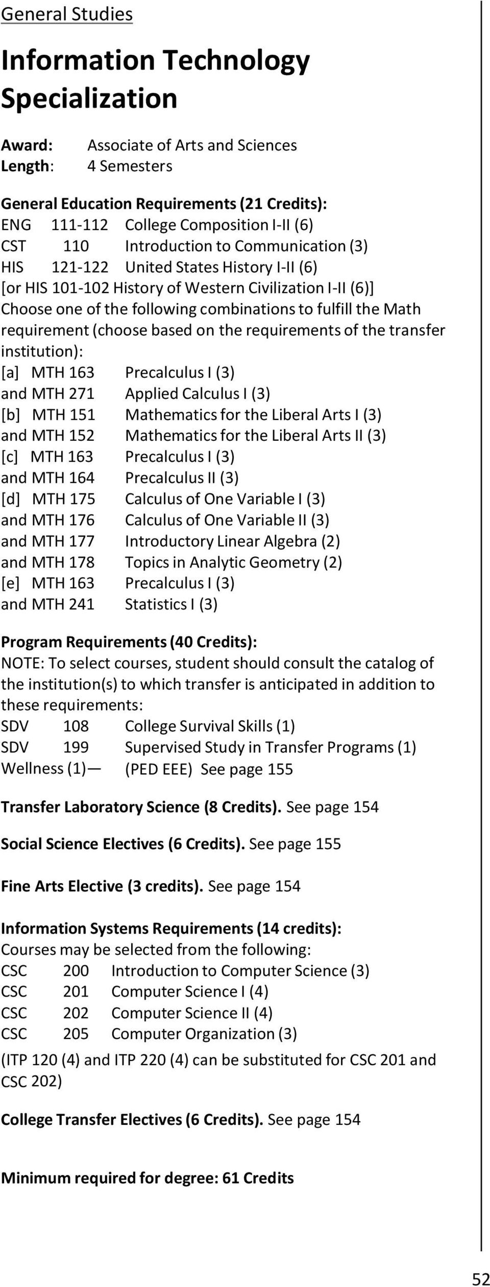 Math requirement (choose based on the requirements of the transfer institution): [a] MTH 163 Precalculus I (3) and MTH 271 Applied Calculus I (3) [b] MTH 151 Mathematics for the Liberal Arts I (3)