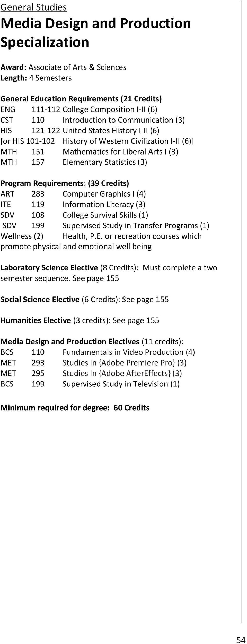 Elementary Statistics (3) Program Requirements: (39 Credits) ART 283 Computer Graphics I (4) ITE 119 Information Literacy (3) SDV 199 Supervised Study in Transfer Programs (1) Wellness (2) Health, P.