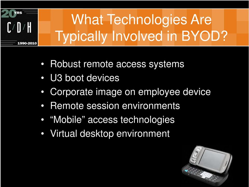 Corporate image on employee device Remote session