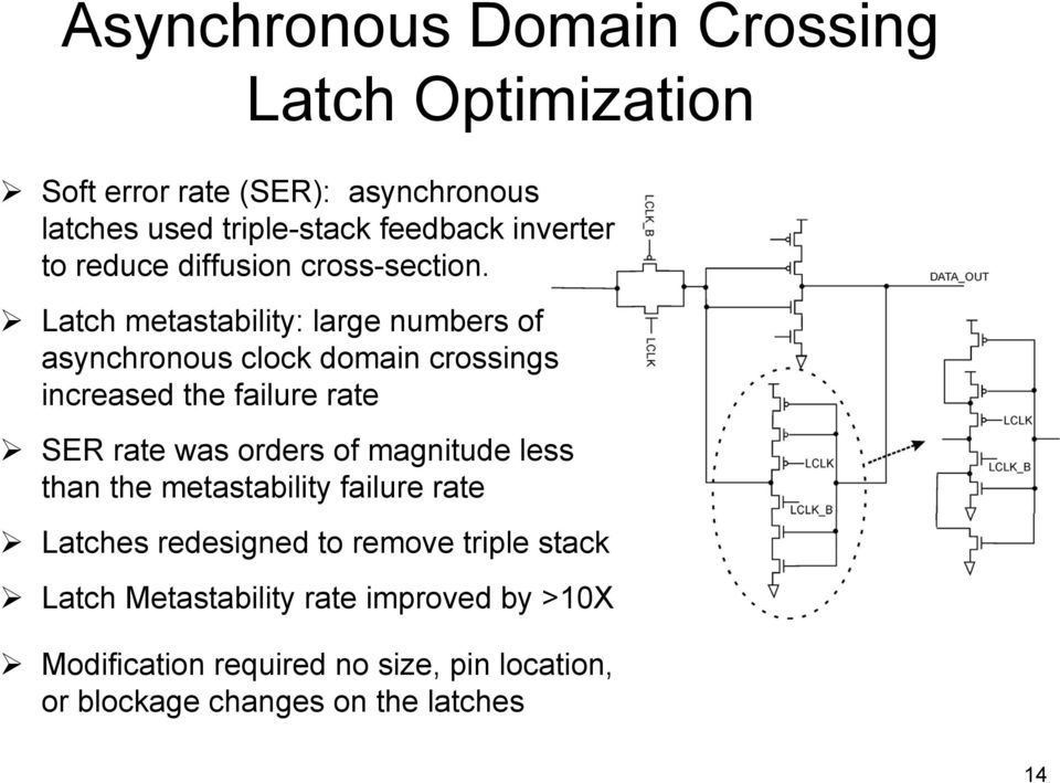 Latch metastability: large numbers of asynchronous clock domain crossings increased the failure rate SER rate was orders of